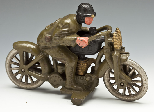 Hubley Harley-Davidson cast-iron motorcycle. Price realized: $1,000. Cordier Auctions.