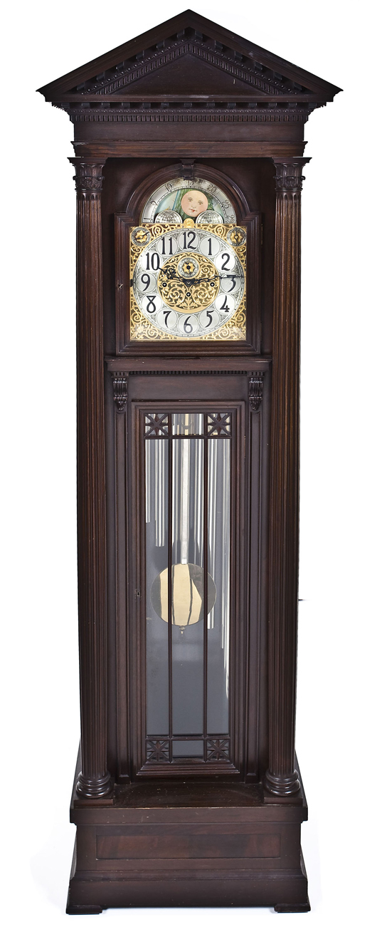 Hershede No. 122 nine-tube tall-case clock. Price realized: $7,000. Cordier Auctions.