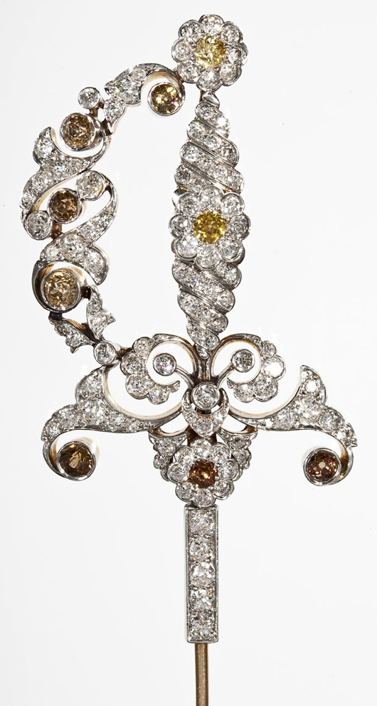 4.74 carat weight diamond sword pin. Price realized: $5,600. Cordier Auctions.