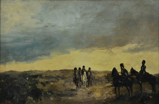 'The Return of the Calvary,' this oil on canvas by Dutch artist George Hendrik Breitner (1857-1923) is being offered at $20,000 to $40,000. Clars Auction Gallery image.