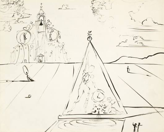 From Salvador Dali will be his ink on paper from his 1945-46 film 'Destino' for Walt Disney Studios. This offering, estimated at $10,000 to $15,000, comes from the collection of Dali's personal secretary. Clars Auction Gallery image.
