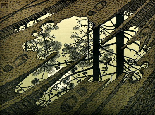 """This spectacular color woodcut print titled 'Modderplas' (Puddle), 1952, by Dutch artist Mauritus Cornelius """"MC"""" Escher (1898-1972) will be offered with an estimate of $20,000 to $40,000. Clars Auction Gallery image."""