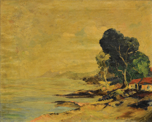 This oil on canvas by British artist Edward Seago (1910-1974) titled 'Cottage by the Sea has a $20,000 to $40,000 estimate. Clars Auction Gallery image.