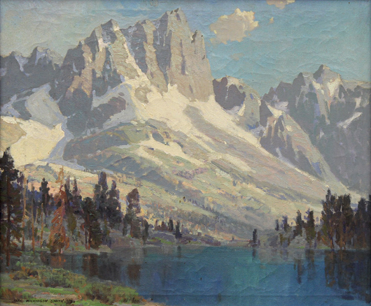 'Summit Lake' by Jack Wilkinson Smith (1873-1949) will further the prominent California offerings and is estimated to achieve $15,000 to $20,000. Clars Auction Gallery image.