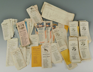 Approximately 260 ballots from the 1864 presidential election were sold as a single lot. Image courtesy Case Antiques.