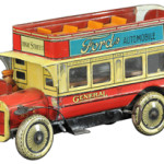 Double-decker buses are still used, but this tin toy bus was made in the 1930s and looks old-fashioned. The 9 1/2-inch German toy auctioned for $2,006 at Bertoia Auctions in Vineland, N.J.