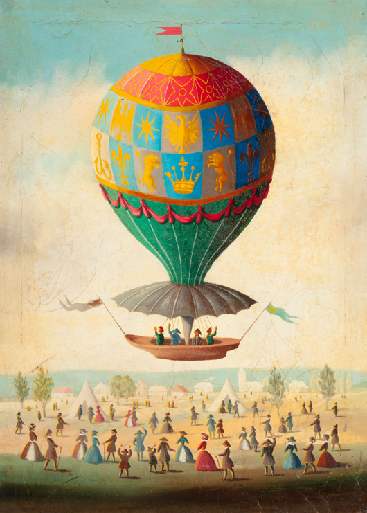 Attributed to Victor Philippe Lemoine-Benoit (French, 1831-1850), 'Bidding Farewell in a Hot Air Balloon,' oil on canvas. Estimate: $6,000-$8,000. Heritage Auctions image.