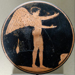 Eros depicted as an adult male, Attic red-figure bobbin, circa 470-450 B.C. Image by Jastrow, courtesy of Wikimedia Commons.