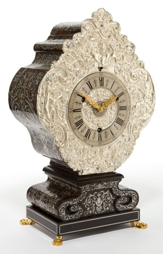 German silvered metal, tortoiseshell, pewter and gilt bronze clock, Teller Uhr form, circa 1700, 22 1/8 inches high. Estimate: $3,000-$5,000. Heritage Auctions image.
