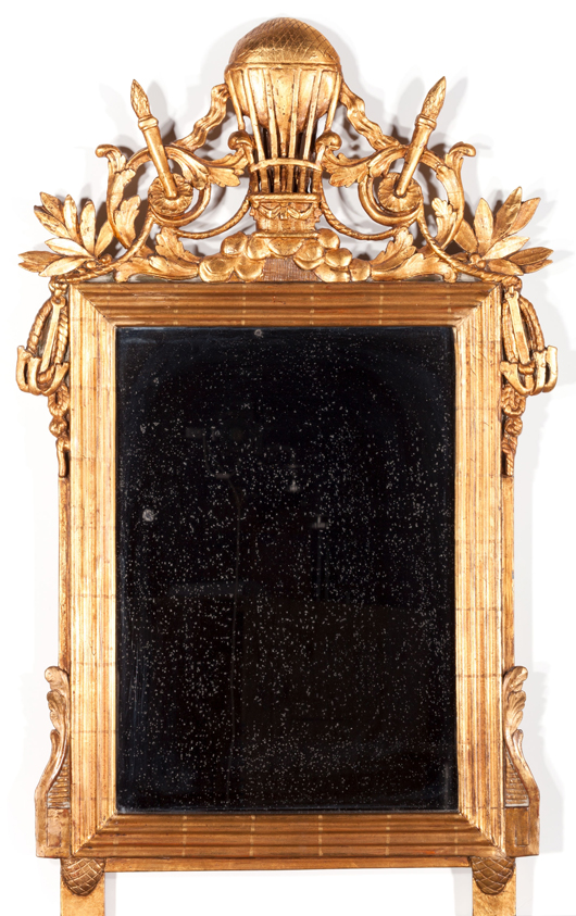 Rare French Empire gilt wood mirror with hot air balloon crest, early 19th century, 41 1/2 x 23 1/2 inches. Estimate: $5,000-$7,000. Heritage Auctions image.