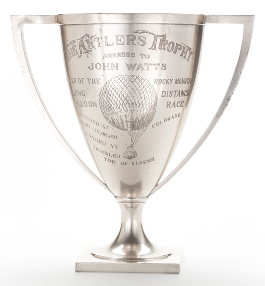Rare Gorham sterling silver ballooning trophy, 1911, 16 inches high, 82.12 troy ounces. Estimate: $8,000-$12,000. Heritage Auctions image.