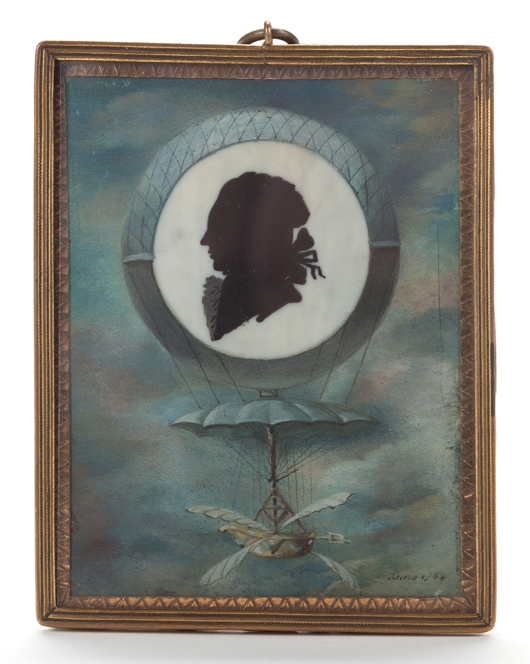 Unique and historic ballooning silhouette miniature of Jean Pierre Blanchard, 1784, 3-1/2 by 2-3/4 inches, miniature painting on ivory commemorating his first balloon ascent in Paris on March 2, 1784. Estimate: $3,000-$5,000. Heritage Auctions image.