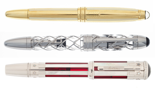 Top: Montblanc Soulmakers yellow gold limited edition 100 36685 Anniversary pen. Estimate: $16,000-$22,000. Middle: Montblanc Fourth of July limited edition 56 Skeleton fountain pen. Estimate: $25,000-$35,000. Bottom: Stars & Stripes limited edition 50 fountain pen. Estimate: $20,000-$30,000. Heritage Auctions images.