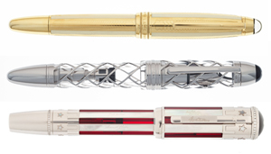 Top: Montblanc Soulmakers yellow gold limited edition 100 36685 Anniversary pen. Estimate: $16,000-$22,000. Middle: Montblanc Fourth of Julty limited edition Skeleton fountain pen Estimate: $25,000-$35,000. Bottom: Montblanc Stars & Stripes limited edition 50 fountain pen. Estimate: $20,000-$30,000. Heritage Auctions images.