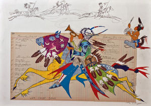 'The War Chief's Song,' a George Flett ledger-style painting. Image courtesy of LiveAuctioneers.com Archive and MAC Art Auctions Spokane.