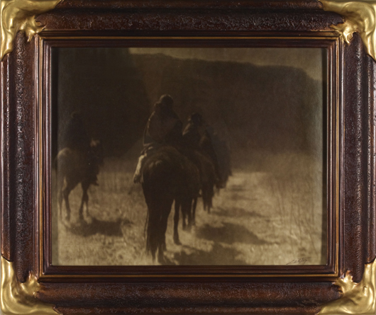 A vintage platinum print of one of Curtis's classic images, 'The Vanishing Race,' brought $10,890 in the High Noon Western Americana Auction on Jan. 26. A gold tone print of the identical view in its original frame brought $5,747.50 in the same sale. Courtesy High Noon American Auctions.