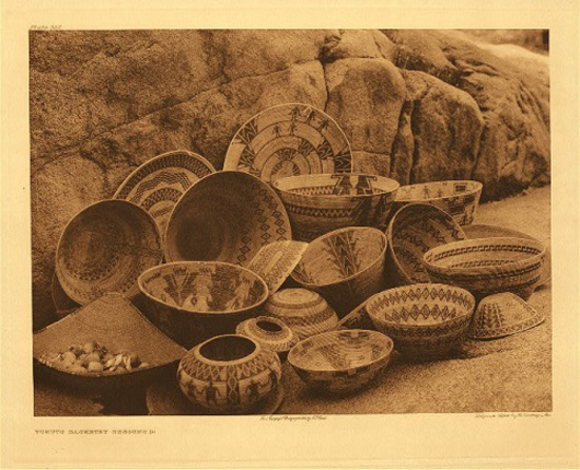 Curtis also performed the valuable service of documenting native arts and crafts being made in the early 20th century. This selection of patterned baskets is one of 40 Curtis photographs used to illustrate 'Weavers of the Earth: Native American Baskets,' an exhibition through May 12 at the Memphis Pink Palace Museum.