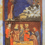 An illustrated page from the Sarajevo Haggadah, written in 14th century Spain. Image courtesy of Wikimedia Commons.
