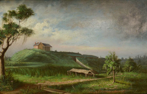 This oil on panel depiction of Fort Macomb near New Orleans attracted multiple phone and Internet bidders who bid it to $29,250. The artist was Louisiana painter George David Coulon (1823-1904). Case Antiques image.