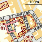 The black dot indicates the location of the grave of Richard III in Leicester. The king, killed on the battlefield, was hastily buried at the former Greyfriars Church, which was demolished during Henry VIII's dissolution of the monasteries. The University of Leicester dig last year fixed the church, chapter house, cloisters and monastic buildings as the pink area. This file is licensed under the Ordnance Survey OpenData License.