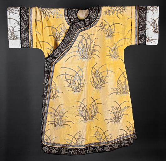 Chinese yellow silk Kesi robe, 54 inches long. Provenance: Alma Headley de Waal, circa 1931; Headley-Whitney Museum, Lexington, Ky. Estimate: $3,000-$5,000. Neal Auction Co. image.
