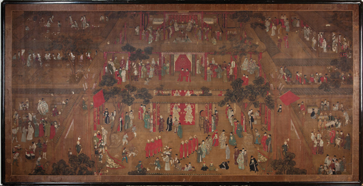 Chinese School, 'Court Gathering,' ink, color and gilt on silk, bearing signature of Qiu Ying, 60 inches x 117 1/4 inches. Provenance: George W. Headley III; Headley-Whitney Museum, Lexington, Ky. Estimate: $6,000-$8,000. Neal Auction Co. image.