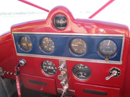 The Art Deco instrument panel, which was completely redone. Koerner Aviation image.