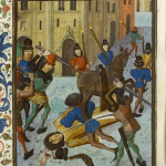 The assassination of the Duke of Orleans on the rue Vieille du Temple in 1407. This image is in the public domain because its copyright has expired. Image courtesy of Wikimedia Commons.