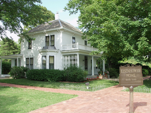 Eisenhower's boyhood home is located on the grounds of the Eisenhower Presidential Library and Museum in Abilene, Kan. Image courtesy of the Eisenhower Presidential Library and Museum.