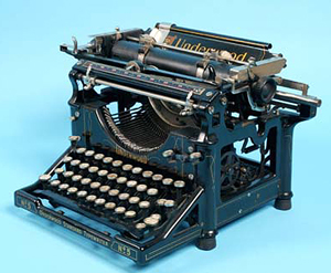 The Underwood No. 5 typewriter was a used widely in offices in the early 20th century. Designed in 1901 by Frank Wagner, this speedy and reliable machine was a favorite of typists. This file is licensed under the Creative Commons Attribution-Share Alike 3.0 Unported license. Image courtesy of the Children's Museum of Indianapolis and Wikimedia Commons.