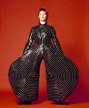 Striped bodysuit for 'Aladdin Sane' tour. Design by Kansai Yamamoto. Photograph by Masayoshi Sukita, 1973. Credit line: © Duffy Archive. Special terms: David Bowie is. Courtesy of Victoria and Albert Museum.