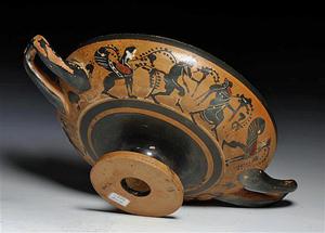 Greek Attic black figure stemmed kylix, Athens, Classical Period, c. 510 B.C. Estimate: $8,000-$10,000. Antiquities-Saleroom image.