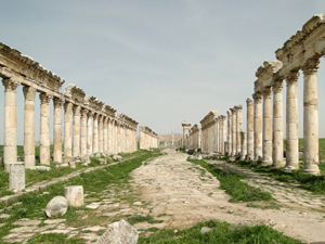 The Great Colonnade at Apamea was the main colonaded avenue of the ancient city of Apamea in Syria. The monumental colonnade is among the longest and most famous in the Roman world. Image by Bernard Gagnon. This file is licensed under the Creative Commons Attribution-Share Alike 3.0 Unported, 2.5 Generic, 2.0 Generic and 1.0 Generic license.