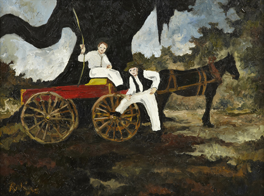 Pre-Blue-Dog oil on canvas by Louisiana artist George Rodrigue, titled 'Mule Drawn Wagon.' Crescent City Auction Gallery.