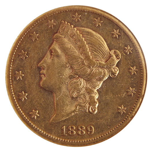 1889-CC gold coin, one of 75 American gold coins in an outstanding collection. Crescent City Auction Gallery.