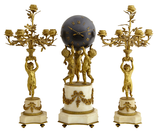 Fine gilt bronze and white marble three-piece French clock set by Japy Freres, 19th century. Crescent City Auction Gallery.