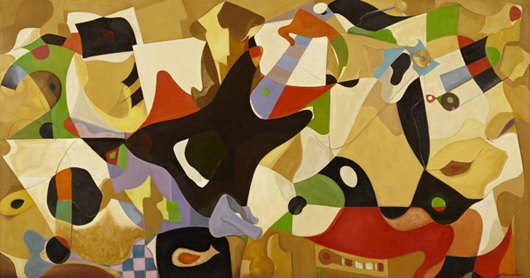 Oil on board by Manuel Marola titled 'Abstract Composition,' part of a Spanish art collection. Crescent City Auction Gallery.