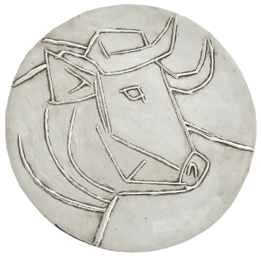 Silver plate with image of a bull's head by Pablo Picasso, cast by Francois and Peter Hugo. Crescent City Auction Gallery.