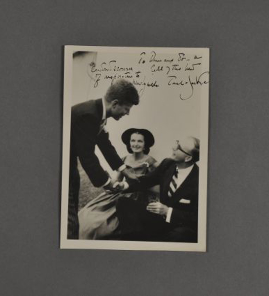 Photo of President Kennedy with Jo and Dave Powers. John McInnis Auctioneers image.