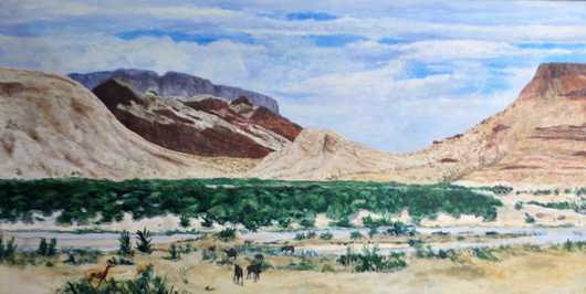 Earl Staley's 'Leaving the Canyon, Big Bend, Texas.' Lewis & Maese Auction Co. image.