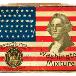 President George Washington's face is pictured with a flag on the lid of this 3-inch-by-4-inch 1890s tobacco tin. It sold for $303 at a William Morford auction in Cazenovia, N.Y.