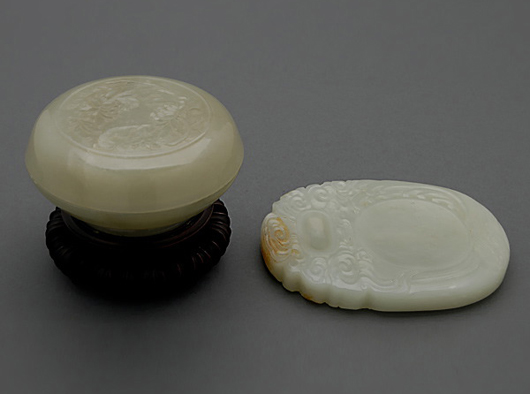 Two jade scholar's implements. Price realized: $4,130. Michaan's Auctions image.