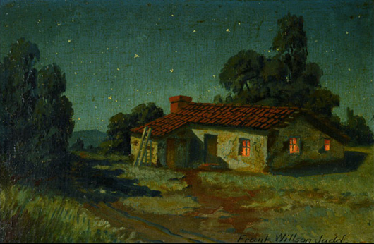 Frank Wilson Judd (American 1864-1940), 'Adobe House at Night,' oil on canvas. Price realized: $1,652. Michaan's Auctions image.