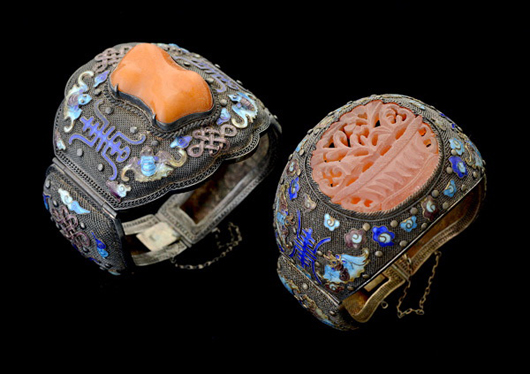 Collection of two amber, carnelian and enamel silver bracelets. Price realized: $1,298. Michaan's Auctions image.