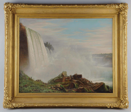 Ferdinand Richardt (Danish, 1819-1895), 'View of Niagara Falls,' oil on canvas, 33 x 43 in, $37,200. Morphy Auctions image.