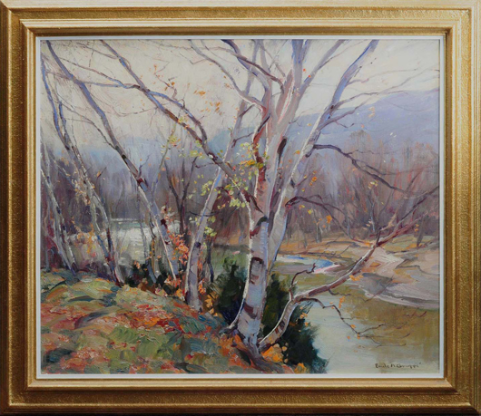 Emile Albert Gruppe (American, 1896-1978), 'Fall Birches,' oil on canvas, 30¼ x 36¼, $10,800. Morphy Auctions image.