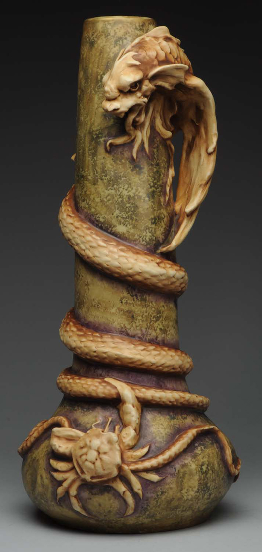Mint-condition Amphora 22½in Saurian & Crab vase, $13,800. Morphy Auctions image.