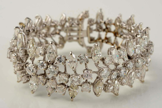 14K white gold bracelet with marquise and round-cut diamonds, $11,400. Morphy Auctions image.