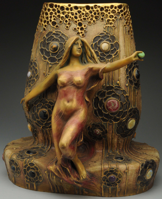 Monumental 18½-in Amphora 'Daughter of the Rhine' vase with applied jewels and enameled flowers, $18,000. Morphy Auctions image.