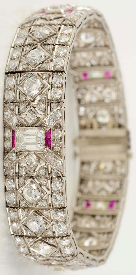 Platinum diamond and ruby bracelet, $15,600. Morphy Auctions image.
